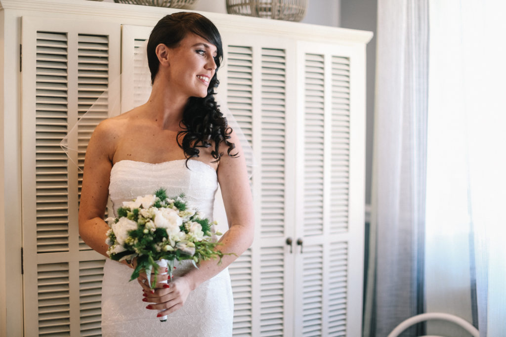 bridal dress and bouquet, the bride is ready