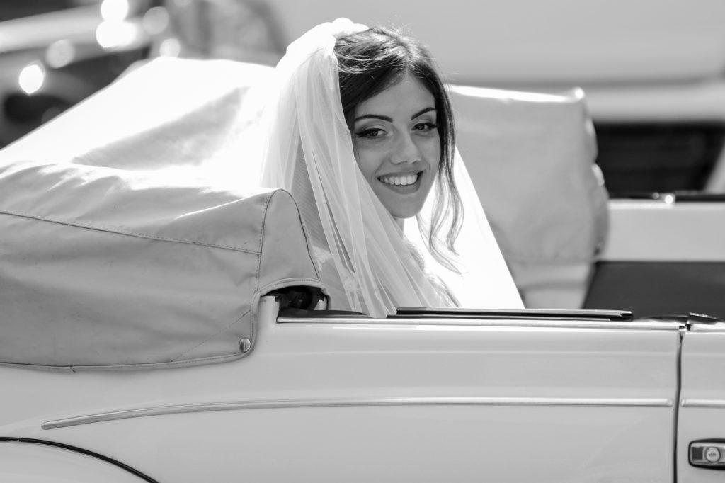 bride's portrait in the car